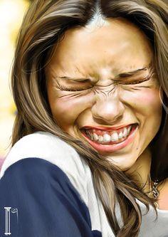 Artist: Innes McDougal {hyperreal female head squinting woman face portrait painting}