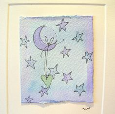 "Watercolor Card Handpainted Original ""The Woman And The Moon"" With Envelope betrueoriginals"