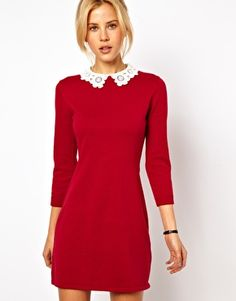 Enlarge ASOS Knit Dress With Lace Collar