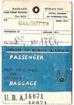 Union of Burma Airways to Calcutta, India.