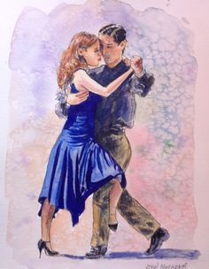 "Tango Dancers Buenos Aires Watercolor and Ink Painting Original  12"" X 9""  