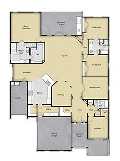 4 BR 3 BA Floor Plan House Design in Houston, TX