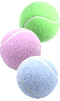 Pastel Tennis Balls.  My golf balls are same color too
