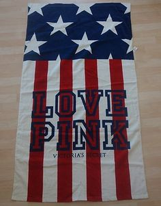 Victorias Secret Pink Red White and Blue Flag Beach Towel New |