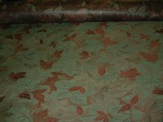 Indoor Outdoor fabric upholstery green rust leaf design 7 YARDS piece NEW