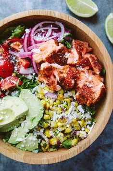 Roasted Salmon Burrito Bowl + Cookbook Giveaway — A Thought For Food - Buddha bowl rezepte Salmon Recipes, Seafood Recipes, Dinner Recipes, Salmon Meals, Drink Recipes, Poke Bol, Moroccan Carrots, Clean Eating, Healthy Eating