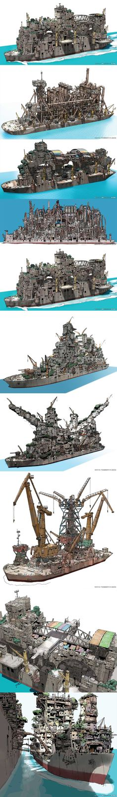 "Ships from ""Gargantia on the Verdurous Planet"" #город #карабль #конструктор"