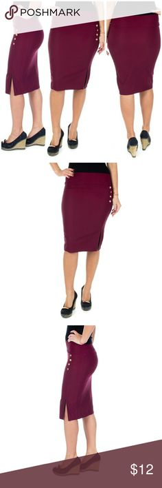 """Women Pencil Skirt w. Buttons & Slit, d4024, Wine Knee-length stretch women pencil skirt with a classy slit and button accents is perfect for office wear. Comfortable,  elastic, not lined, pull-on. Can be worn on or below waist. Skirt length approx. 23.5"""". A true statement in ladies fashion! Waist: small 26"""", medium 28"""", large 30"""", XL 32"""". Forever Young  Skirts"""