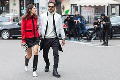Patricia Manfield & Giotto Calendoli at Milan fashion week AW15 | Photographed by Ashka Shen | Xssat Street Fashion