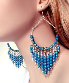 Large blue hoop  earrings  large chandelier hoop by NezDesigns, $20.00