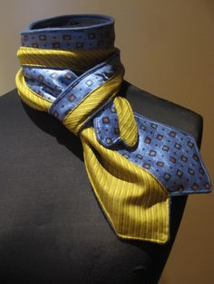 Repurposed Neckties Fleece Scarf in Blue and Golden yellow - Upcycled Clothing