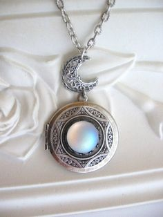 Moon LOCKET Silver Locket Necklace Moonstone by CharmedValley, $32.00