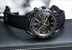 Omega Speedmaster Co-Axial Chronograph Dark Side Of The Moon Black Ceramic Watch.