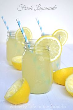 Fresh Lemonade {A Pretty Life}...mason jar, cute straws, and all. :) I used 1/2 c. sugar and it was really good.