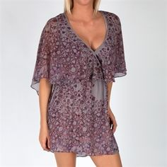 Free People Women's Contemporary Printed Chiffon Sparks Fly Cape Dress