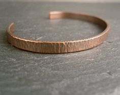 Hammered copper cuff bracelet, narrow open bangle with bark texture, women's bangle, men's cuff, copper wedding anniversary, oxidized copper by CinnamonJewellery on Etsy