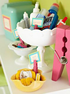 Cute way to organize laundry supplies