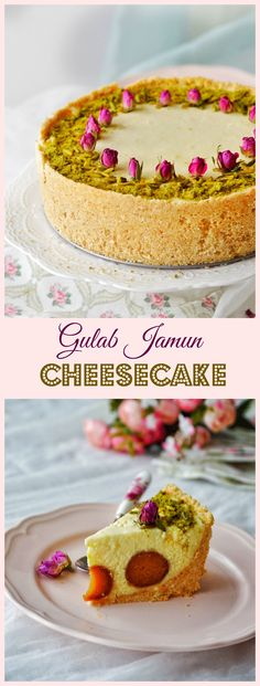 GULAB JAMUN CHEESECAKE, an Indian cheesecake made with paneer, hung yoghurt and gulab jamuns.