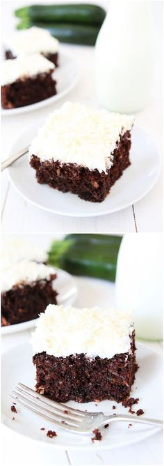Chocolate Zucchini Coconut Cake Recipe on http://twopeasandtheirpod.com This chocolate cake is amazing! You will never know there is zucchini inside!