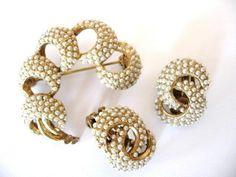 Vintage Kramer Faux Pearl Seed Bead Brooch and Earrings Set  #Kramer