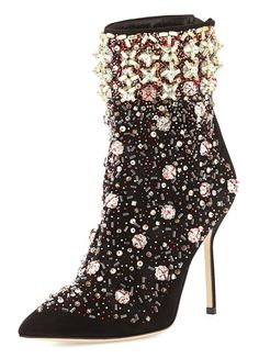 "Manolo Blahnik Fall-Winter 2015 ""Zarina"" embroidered suede boot <3"