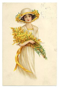 Edwardian Lady with Goldenrods