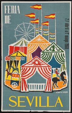 Spain 1960 Seville Festival Poster,intage 1960 whimsical poster by artist A. Martin Cartaya announcing the annual Seville Festival which is held in the Andalusian capital in Spain. Art Vintage, Retro Poster, Photo Vintage, Poster S, Vintage Travel Posters, Posters Decor, Spanish Festivals, Retro Illustration, Vintage Illustrations