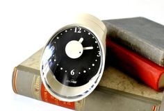 Vintage kitchen clock egg timer space age atomic white West German Mid-Century 60s 70s. €28.00, via Etsy.