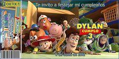 Toy Story birthday invitation card. Tarjeta invitación para cumpleaños tipo ticket tema Toy Story disponible en www.elsurdelcielo.com