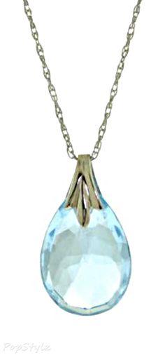 14K White Gold Genuine Briolette Topaz Necklace - Stunning !