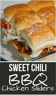 Sweet Chili BBQ Chicken Sliders are a great party food or easy dinner recipe. These mini sandwiches are made using leftover shredded chicken tossed in a sweet and spicy barbecue sauce and topped with coleslaw.