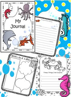 OCEAN THEMED JOURNAL PAGES--ANIMALS FROM THE SEA, 85 PAGES! Pages with prompts. A variety of ocean designs, b & w, and color, lined and blank for writing/drawing, or notes. Appropriate for gr. K-4. Open-ended writing for most any topic, or daily writing. Can use for differentiating writing skills.