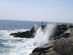 A smaller wave crashing up against the rocks at Peggys Cove Nova Scotia Canada Eh, Toronto Canada, Acadia National Park, National Parks, Saint John New Brunswick, Visit Nova Scotia, Titanic Museum, Horse Drawn Wagon, Baltic Sea