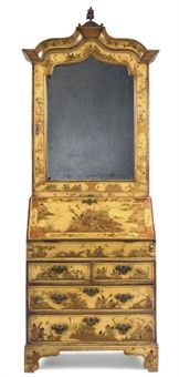 A YELLOW JAPANNED AND CHINOISERIE GILT DECORATED BUREAU CABINET