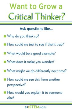 One of the best ways to help kids to become better critical thinkers is to ask them questions like these, that require them to think critically! Another way to to provide challenging and engaging math activities and puzzles that ask them to think critical Learning Activities, Kids Learning, Critical Thinking Skills, Critical Thinking Activities, Teaching Tips, Teaching Art, Kids Education, Kids And Parenting, Just In Case