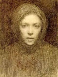 Ellen Thesleff (Finnish artist) 1869 - 1952 Omakuva (Self-Portrait)She became a member of a group of Finnish artists influenced by the Symbolist movement in Paris. Helene Schjerfbeck, Self Portrait Drawing, Portrait Art, Collaborative Art, You Draw, Art Graphique, Oeuvre D'art, Figurative Art, Female Art