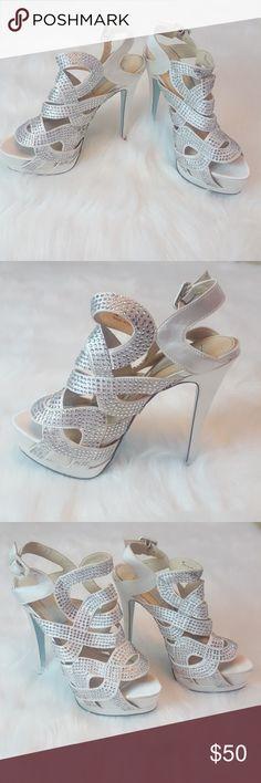 96a521a1d6c Betsey Johnson Ivory SB-Love Heels with Crystals Ivory satin Betsey Johnson  Love platform heels