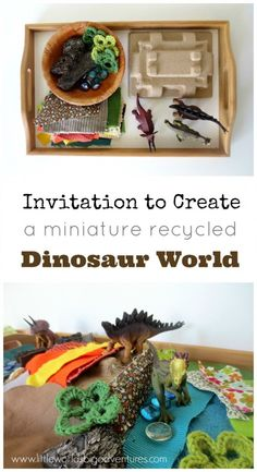 See how this cute invitation to create a mini dinosaur world shows that less toys equal more play. Plus get some great play ideas for easy wins at home! Creative Activities For Kids, Rainy Day Activities, Creative Play, Indoor Activities, Craft Activities For Kids, Toddler Activities, Crafts For Kids, Preschool Ideas, Craft Ideas