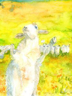 "Saatchi Online Artist: Mara Grubert; Watercolor, Painting ""Dancing with sheep"""
