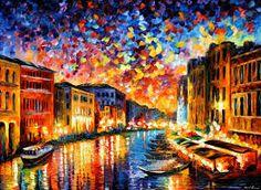 Resultado de imagem para pintura em tela com ruas de veneza