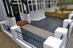 garden-ideas House front tiles Ideas At the moment, the small front garden looks bare and Victorian Front Garden, Victorian Terrace, Victorian London, Victorian House, Victorian Decor, Victorian Mosaic Tile, Slate Paving, Slate Flooring, White Mosaic Tiles