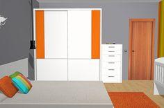 Armario puertas correderas blanco del catálogo Esenzia con detalles cristal naranja