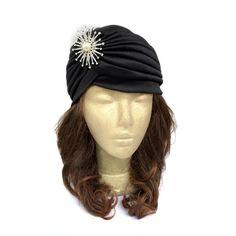 Black Turban Hat with Rhinestone Embellishment, Fashion Turban