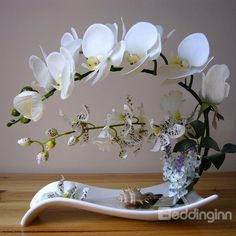 Beautiful Polyurethane Decorative Butterfly Orchid #Artificial #Flower Set