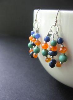 Long Beaded Earrings. Lapis Turquoise от SimpleElementsDesign, $34,00
