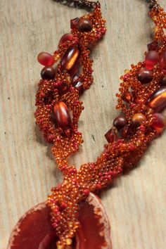 Fire Agate necklace • Deep red agate slab seed bead free form necklace • OOAK • Organic jewelry • Hot summer freeform jewelry