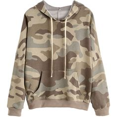 Camo Print Drop Shoulder Drawstring Hooded Pocket Sweatshirt (€17) ❤ liked on Polyvore featuring tops, hoodies, sweaters, jackets, casacos, multicolor, long sleeve hoodies, pullover hoodie, camo hoodie and camo pullover hoodie