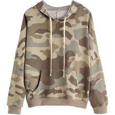 Camo Print Drop Shoulder Drawstring Hooded Pocket Sweatshirt ($20) ❤ liked on Polyvore featuring tops, hoodies, sweatshirts, multicolor, camo pullover, camouflage hoodies, patterned hoodies, camouflage hooded sweatshirts and camo hoodies