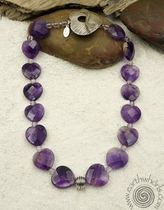 https://earthwhorls.com/collections/necklaces/products/1985sn  Amethyst & Sterling Silver necklace.  Stones speak the language of love - Valentine's Day gifts by EarthWhorls - free shipping and gift wrap!