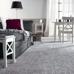 Living Room Design Ideas Grey Carpet Love The White Furniture Gray Carpet Sheers Touch The Chic Grey Living Room With Clean Lines Living Room Grey Easy On Lounge With Grey Carpet Interior Grey Carpet Bedroom, Living Room Carpet, Living Room Grey, Gray Carpet, Grey Walls And Carpet, Gray Walls, Modern Carpet, White Walls, White Furniture